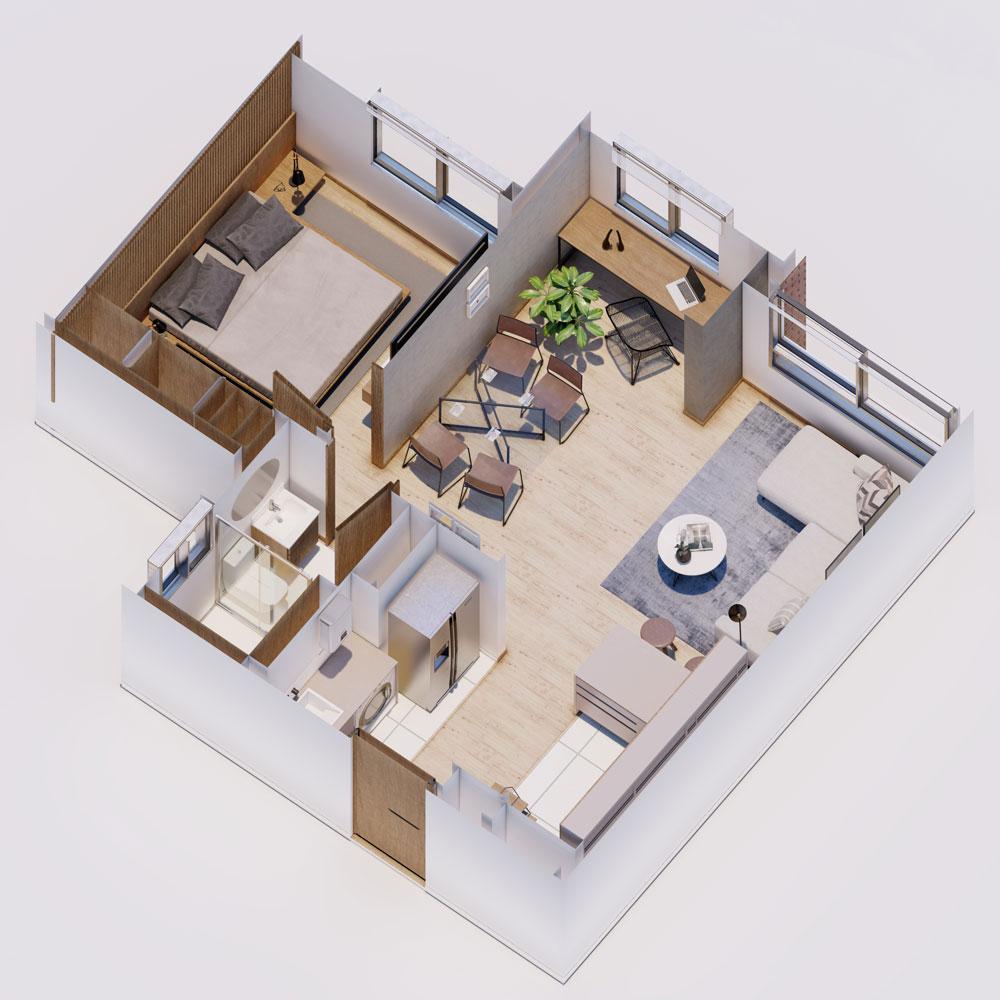 Apartamento VIS con estudio