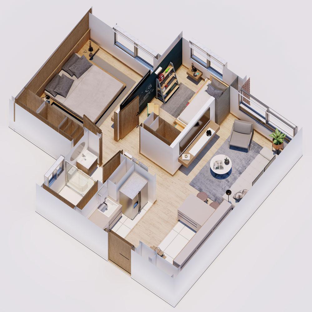 Apartamento VIS con 2 habitaciones